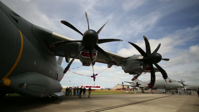 medium and wide views of a p3 orion and alison turboprop engines at the australian international airshow and aerospace defence exposition at avalon... - tail wing stock videos and b-roll footage