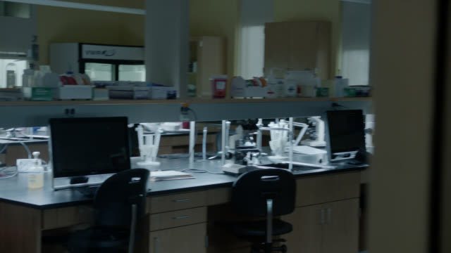 medium angle moving pov of laboratory. science or medical.