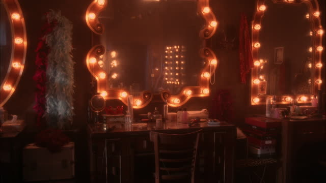 medium angle of lighted mirrors in dressing room of strip club, nightclub, or lounge. feather boas visible on wall. mirrors, makeup, and accessories on tables in front of mirrors. staircase visible in fg.