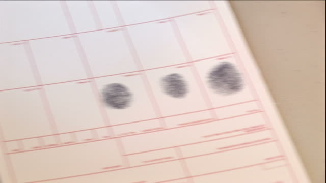 medium close up hand-held - a police officer fingerprints a crime suspect. / usa - law stock videos & royalty-free footage