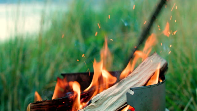 medium close up of grill with burning wood - grigliare video stock e b–roll