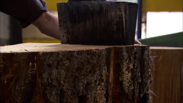 Medium Close Up pan-right - A machine splits a huge oak log in half at an oak barrel factory. / Cognac, France