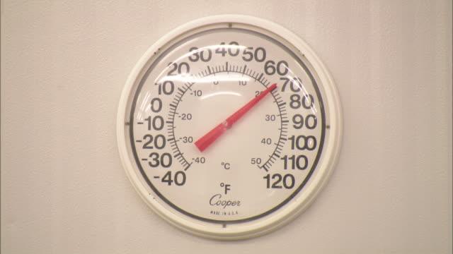 Medium Close Up static - A temperature gauge reads 70 degrees /  Utah, United States