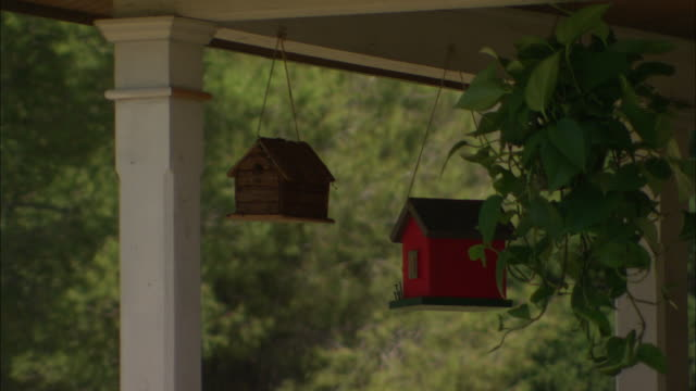 Medium Close Up static - Two bird houses and a hanging plant wave in the wind on the front porch of a house