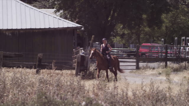 medium long lens, karen canters horse along gravel road away from stables. - recreational horse riding stock videos & royalty-free footage