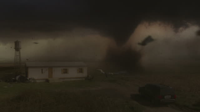 Medium Long Shot hand-held - A CGI animation depicts the savage power of a tornado