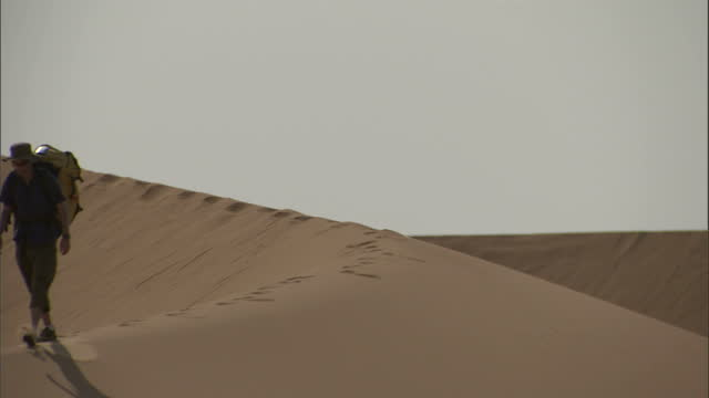 medium long shot static - a hiker with a backpack walks across a sand dune ridge in the sahara desert / sahara, egypt - approaching stock videos & royalty-free footage