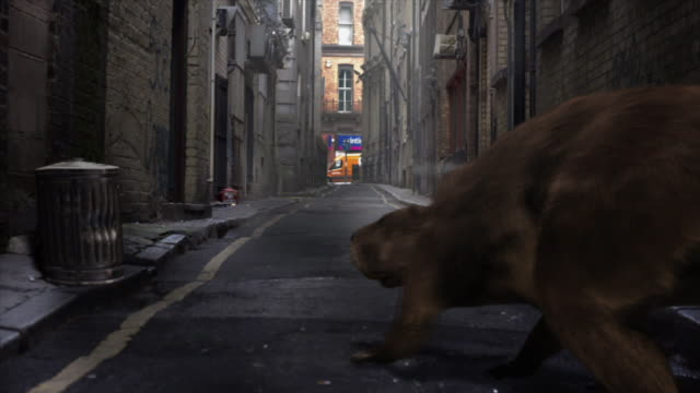 Medium Long Shot static - An alley disappears around a rat-like creature in a computer-generated animation. / New York City, New York, USA