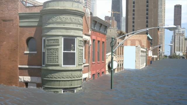 Medium Long Shot static - Flood waters engulf a Chicago neighborhood. / Chicago, Illinois, USA