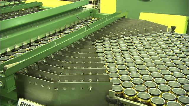 medium long shot static - hundreds of aluminum cans move through a sorting machine /  colorado, united states - aluminum点の映像素材/bロール