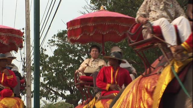 medium long shot static - people ride elephants in thailand. / thailand - タイ王国点の映像素材/bロール