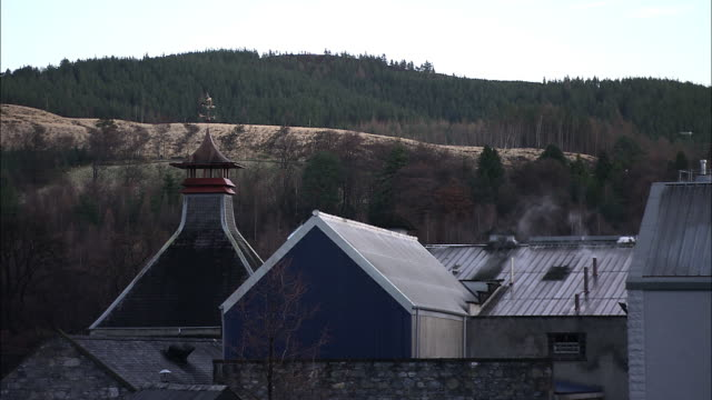 Medium Long Shot static - Smoke rolls out of a chimney at a distillery. / Scotland