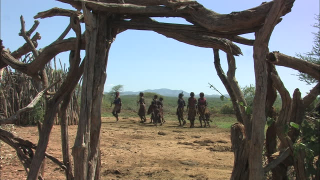 medium long shot static - villagers dance around in a circle past a gate constructed from dead branches. / ethiopia - ethiopia stock videos and b-roll footage
