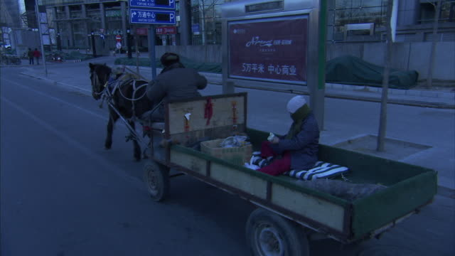 medium long shot_push-in tilt-up tracking-left zoom-out - a horse pulls a cart down the street of a modern city. / beijing, china - push cart stock videos and b-roll footage