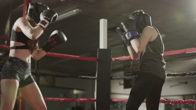 medium low angle slow motion panning shot of female boxers sparring / lehi, utah, united states - 攻撃的点の映像素材/bロール