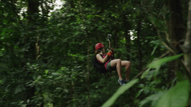 medium low angle tracking shot of woman ziplining in rain forest / quepos, puntarenas, costa rica - costa rica video stock e b–roll