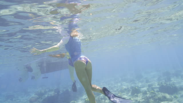 Medium low angle view of woman and girl snorkeling in ocean / Christenstaad, St. Croix, US Virgin Islands