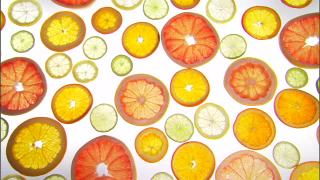 vídeos de stock, filmes e b-roll de medium pan right across multiple slices of citrus fruits on a backlit surface. - medium group of objects
