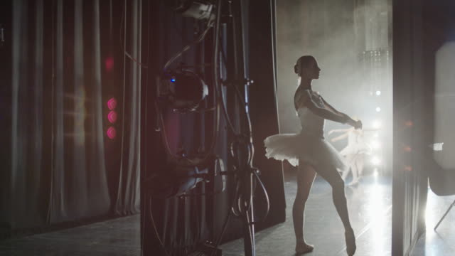 Medium panning shot of ballerina waiting backstage / Salt Lake City, Utah, United States