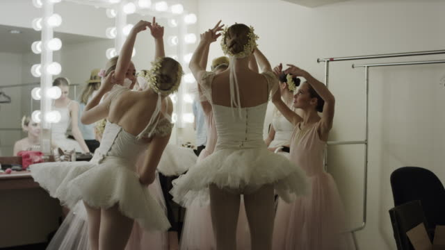 Medium panning shot of ballerinas practicing in dressing room / Salt Lake City, Utah, United States