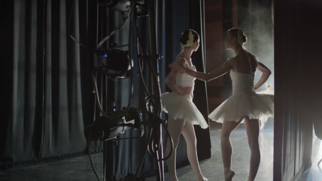 Medium panning shot of ballerinas waiting backstage / Salt Lake City, Utah, United States