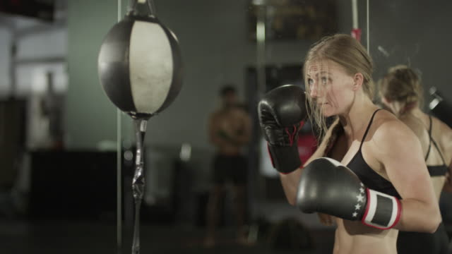 medium panning shot of female boxer working out with speed ball / lehi, utah, united states - punch bag stock videos & royalty-free footage