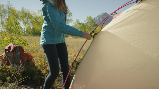 medium panning shot of hikers assembling camping tent / american fork canyon, utah, united states - american fork canyon stock videos and b-roll footage
