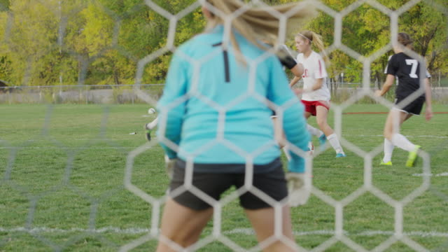 medium panning shot of soccer match from behind net / springville, utah, united states - springville utah stock videos & royalty-free footage