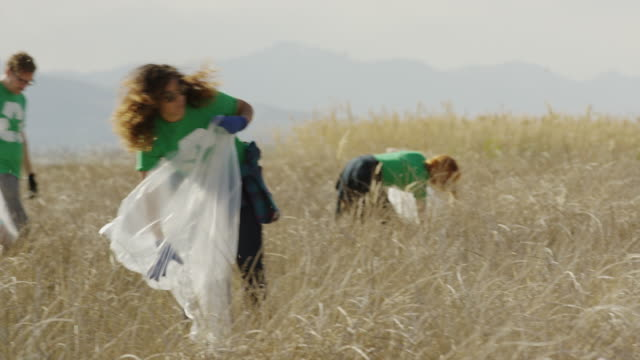 medium panning shot of volunteers collecting garbage in field / vineyard, utah, united states - recycling stock-videos und b-roll-filmmaterial