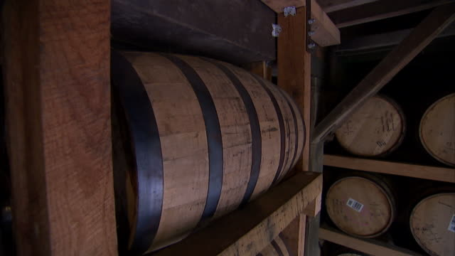 medium pan-right push-out static-wooden barrels fill shelves in a cellar.   - wine cask stock videos and b-roll footage