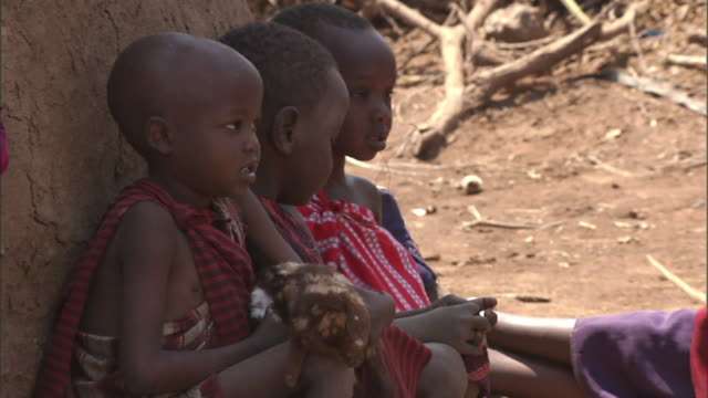 medium pan-right - young masai children holding baby goats sit next to huts in a village. / tanzania - next to stock videos and b-roll footage