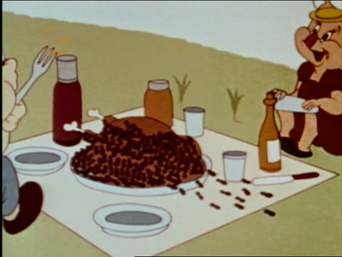 animation medium shot army of ants devour a turkey while two pigs get ready to eat picnic / audio - ant stock videos & royalty-free footage