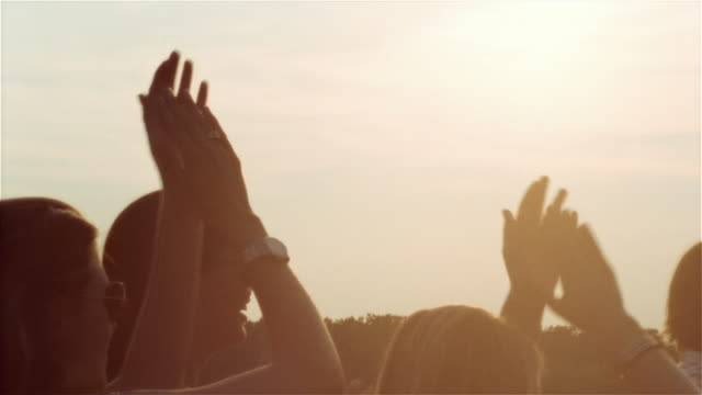 vidéos et rushes de medium shot audience dancing and clapping in sunlight/ saint-ferme, france - jour