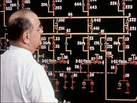 1957 medium shot balding man with glasses putting markers on numbered board in control room - balding stock videos & royalty-free footage