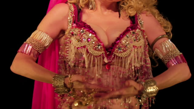 medium shot belly dancer shaking and jiggling cleavage - breast stock videos & royalty-free footage