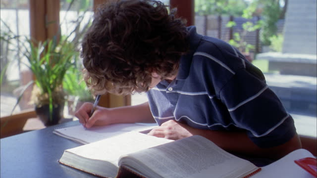 medium shot boy doing homework and turning pages in textbook / girl entering house in background - secondary school child stock videos and b-roll footage