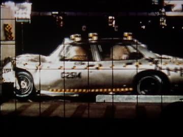 1972 medium shot car crashing into wall in crash test / audio - 1972 stock videos & royalty-free footage