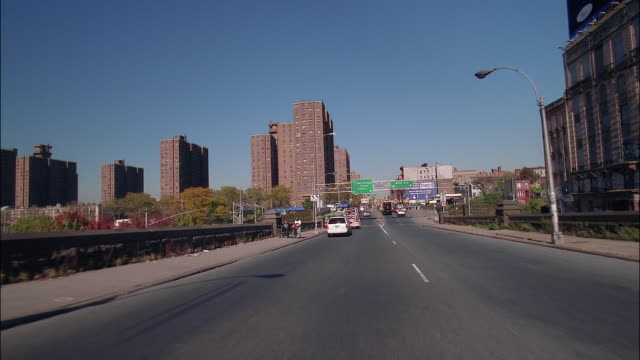 medium shot car point of view driving over the willis avenue bridge / bronx, new york - the bronx stock videos & royalty-free footage