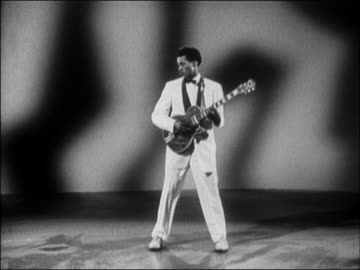 medium shot chuck berry performing 'you can't catch me' from 'rock, rock, rock' film / audio - 1956 stock videos & royalty-free footage