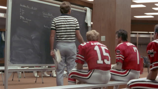 vídeos y material grabado en eventos de stock de 1985 medium shot coach steve spurrier writing on black board in front of tampa bay bandits football players in locker room before game / tampa, florida, usa  - pizarra