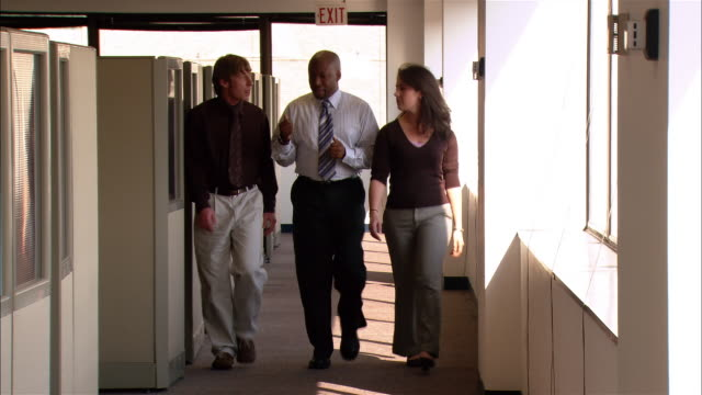 Medium shot co-workers talking as they walk along office corridor together