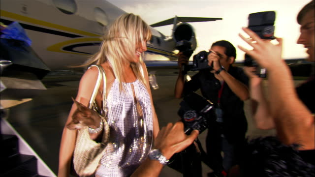 vídeos de stock, filmes e b-roll de medium shot diva carrying chihuahua in purse and exiting private airplane poses for paparazzi photographers while her assistant holds shopping bags / long beach, california, usa - celebridade