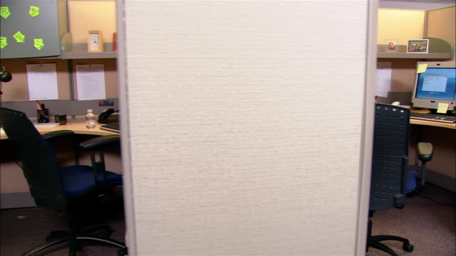 medium shot dolly shot empty office cubicles - office partition stock videos & royalty-free footage