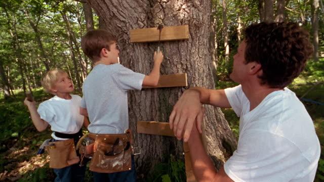 medium shot dolly shot man and boy watching boy nail block of wood to tree - hammer stock-videos und b-roll-filmmaterial