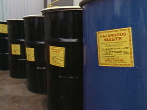 1989 medium shot drums of hazardous waste / audio - toxic waste stock videos & royalty-free footage