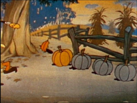 ANIMATION medium shot elf holding paint brush and color palette + painting  jack o' lanterns / AUDIO