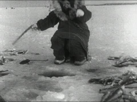 1955 medium shot eskimo ice fishing / audio - inuit stock videos & royalty-free footage
