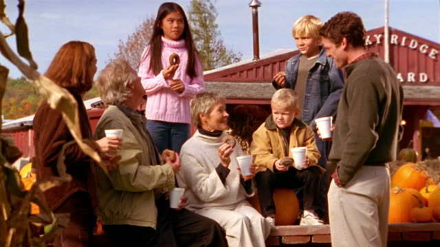 medium shot family eating donuts and talking at pumpkin orchard - adoption stock videos and b-roll footage
