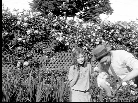 1913 b/w medium shot father clipping roses for girl in garden / usa  - 1913 stock videos & royalty-free footage