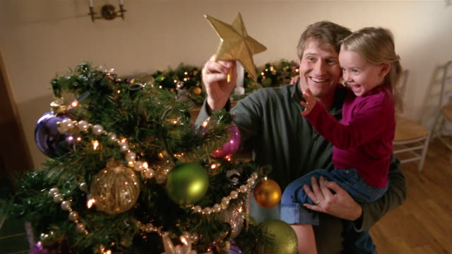 medium shot father holding daughter as he places star on top of christmas tree / smiling and hugging - tree hugging stock videos & royalty-free footage